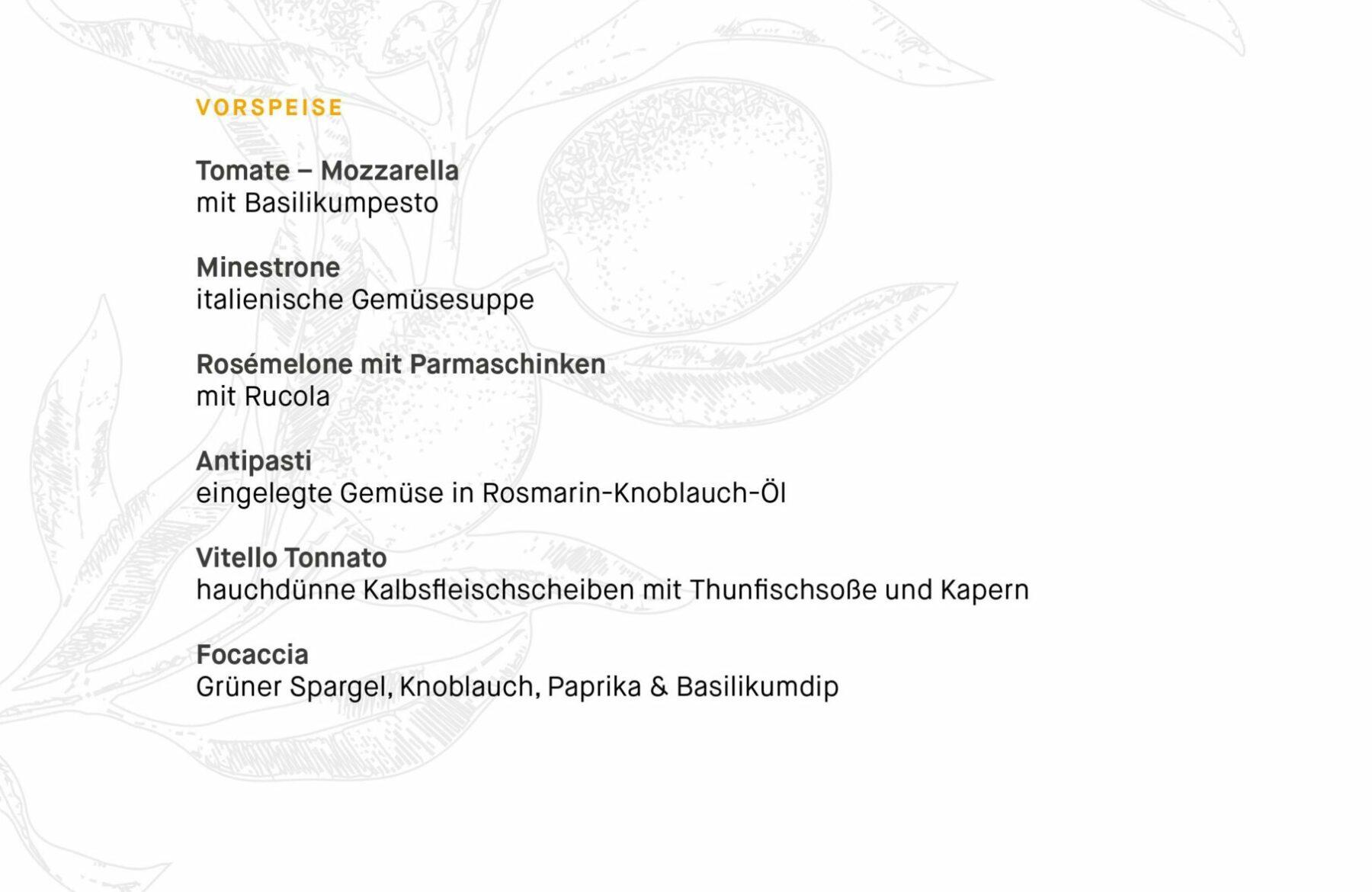 Italienischen Speisekarte des Tertianum Premium Residenz Bewohnerrestaurants Berlin - Vorspeisen