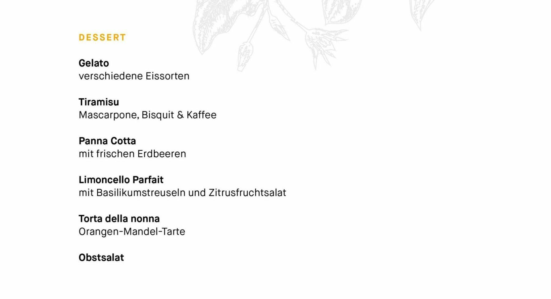 Italienischen Speisekarte des Tertianum Premium Residenz Bewohnerrestaurants Berlin - Hauptgerichte
